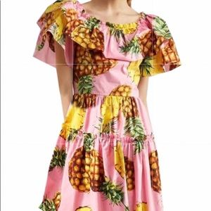 Azbro Pink Pineapple Tiered Off-The-Shoulder Dress